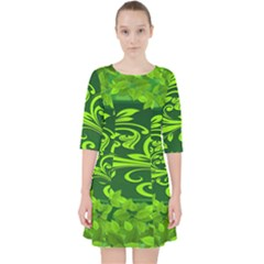 Background Texture Green Leaves Pocket Dress