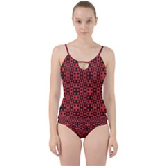 Abstract Background Red Black Cut Out Top Tankini Set