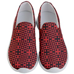 Abstract Background Red Black Men s Lightweight Slip Ons by Sapixe