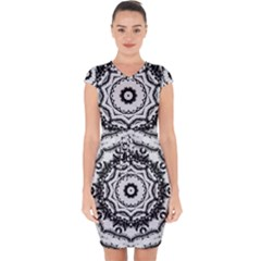 Abstract Pattern Fractal Capsleeve Drawstring Dress