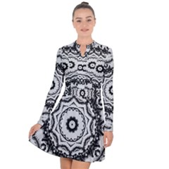 Abstract Pattern Fractal Long Sleeve Panel Dress