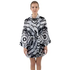 Abstract Pattern Fractal Long Sleeve Kimono Robe