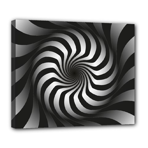 Art Optical Black White Hypnotic Deluxe Canvas 24  X 20