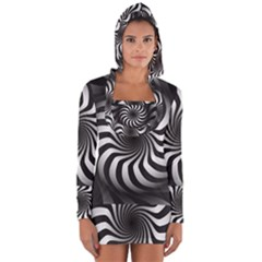 Art Optical Black White Hypnotic Long Sleeve Hooded T Shirt by Sapixe