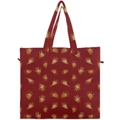 Primitive Art Hands Motif Pattern Canvas Travel Bag