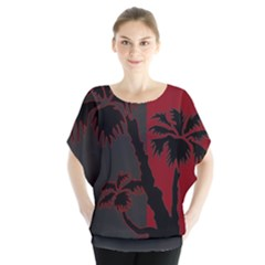 Red And Grey Silhouette Palm Tree Batwing Chiffon Blouse