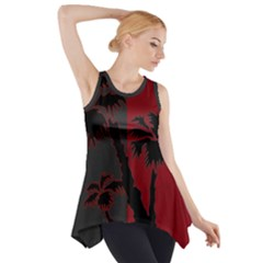 Red And Grey Silhouette Palm Tree Side Drop Tank Tunic