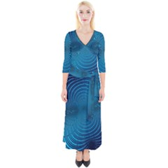 Background Brush Particles Wave Quarter Sleeve Wrap Maxi Dress