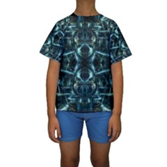 Abstract Fractal Magical Kids  Short Sleeve Swimwear