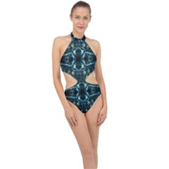 Abstract Fractal Magical Halter Side Cut Swimsuit