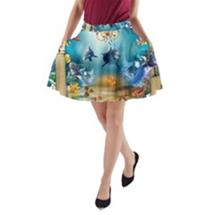 Dolphin Art Creation Natural Water A Line Pocket Skirt