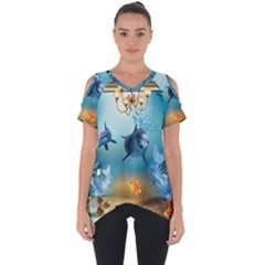 Dolphin Art Creation Natural Water Cut Out Side Drop Tee by Sapixe