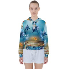 Dolphin Art Creation Natural Water Women s Tie Up Sweat