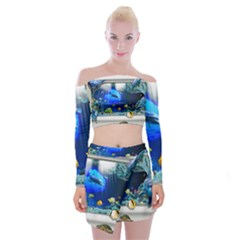 Dolphin Art Creation Natural Water Off Shoulder Top With Mini Skirt Set