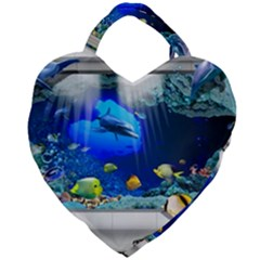 Dolphin Art Creation Natural Water Giant Heart Shaped Tote