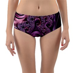 Purple Abstract Art Fractal Reversible Mid Waist Bikini Bottoms