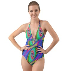 Ellipse Pattern Elliptical Fractal Halter Cut Out One Piece Swimsuit