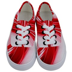 Flame Red Fractal Energy Fiery Kids  Classic Low Top Sneakers