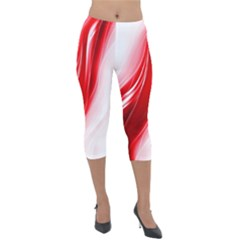 Flame Red Fractal Energy Fiery Lightweight Velour Capri Leggings
