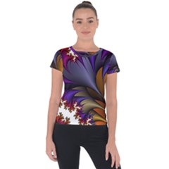 Flora Entwine Fractals Flowers Short Sleeve Sports Top