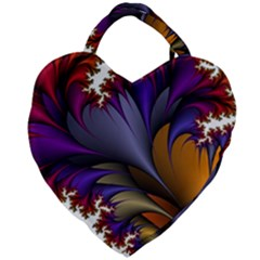Flora Entwine Fractals Flowers Giant Heart Shaped Tote by Sapixe