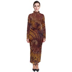 Copper Caramel Swirls Abstract Art Turtleneck Maxi Dress