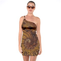 Copper Caramel Swirls Abstract Art One Soulder Bodycon Dress