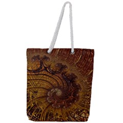 Copper Caramel Swirls Abstract Art Full Print Rope Handle Tote (large) by Sapixe