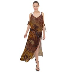Copper Caramel Swirls Abstract Art Maxi Chiffon Cover Up Dress by Sapixe