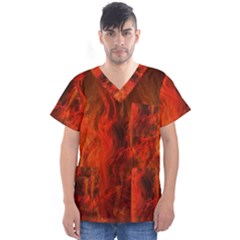 Fractal Abstract Background Physics Men s V Neck Scrub Top