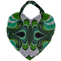 Fractal Art Green Pattern Design Giant Heart Shaped Tote by Sapixe