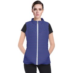 Blue Fractal Art Honeycomb Mathematics Women s Puffer Vest