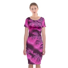Fractal Artwork Pink Purple Elegant Classic Short Sleeve Midi Dress