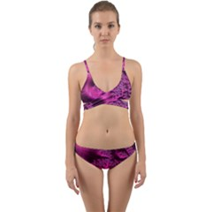 Fractal Artwork Pink Purple Elegant Wrap Around Bikini Set