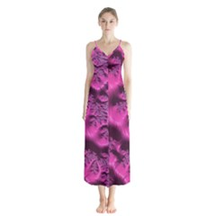 Fractal Artwork Pink Purple Elegant Button Up Chiffon Maxi Dress