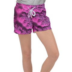 Fractal Artwork Pink Purple Elegant Women s Velour Lounge Shorts