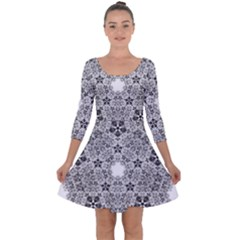 Fractal Background Foreground Quarter Sleeve Skater Dress by Sapixe