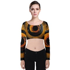 Fractal Mathematics Abstract Velvet Crop Top by Sapixe