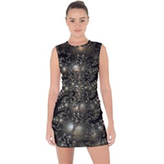 Fractal Math Geometry Backdrop Lace Up Front Bodycon Dress