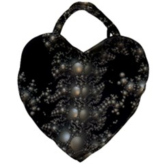 Fractal Math Geometry Backdrop Giant Heart Shaped Tote by Sapixe
