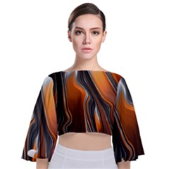 Fractal Structure Mathematics Tie Back Butterfly Sleeve Chiffon Top by Sapixe