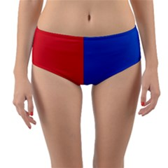 Red And Blue Reversible Mid Waist Bikini Bottoms