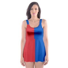 Red And Blue Skater Dress Swimsuit by jumpercat