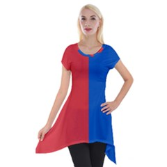 Red And Blue Short Sleeve Side Drop Tunic