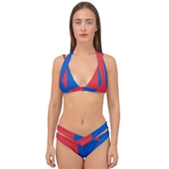 Red And Blue Double Strap Halter Bikini Set by jumpercat
