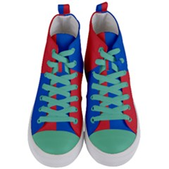 Red And Blue Women s Mid Top Canvas Sneakers