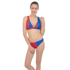 Red And Blue Classic Banded Bikini Set