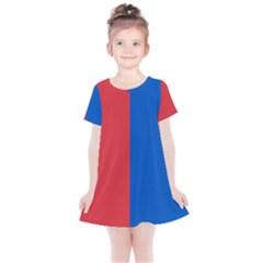 Red And Blue Kids  Simple Cotton Dress