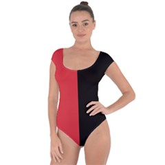 Red And Black Short Sleeve Leotard