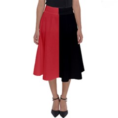 Red And Black Perfect Length Midi Skirt